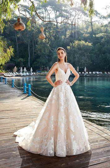 Long back wedding dress