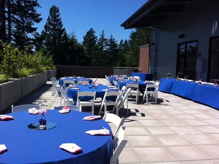 Salish rooftop reception, blue hues on table lien. Perfect for a hot summer day wedding.