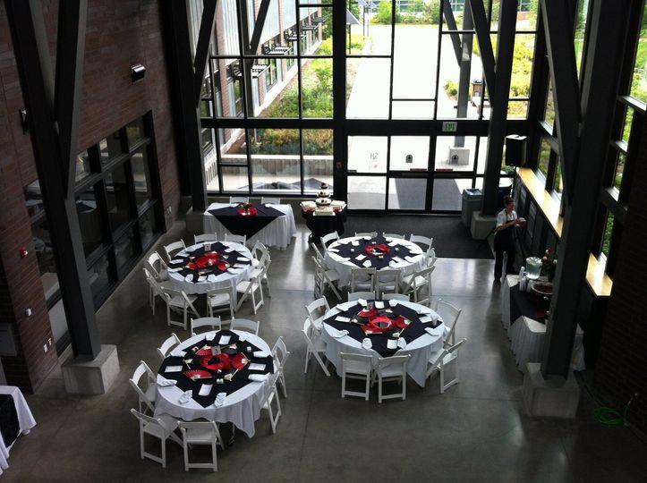 Salish Hall reception, small and quaint.
