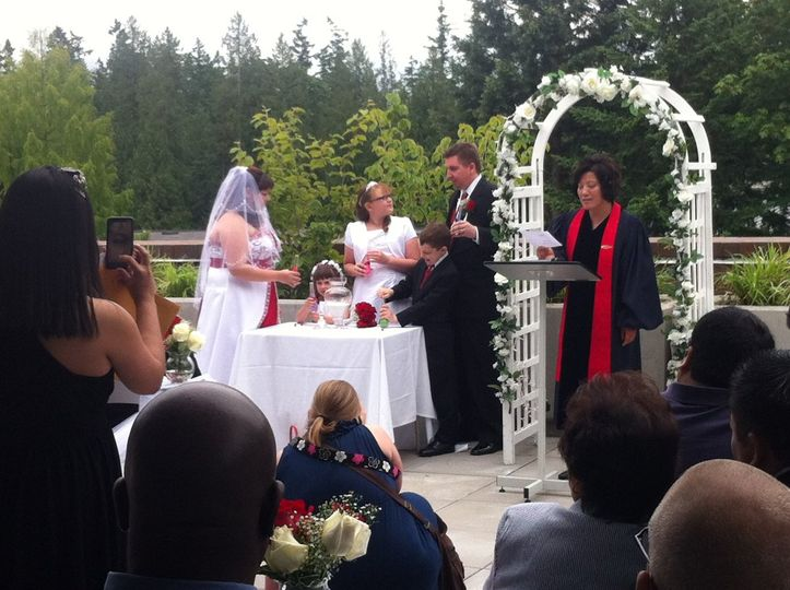 Salish rooftop ceremony, perfect for summer.