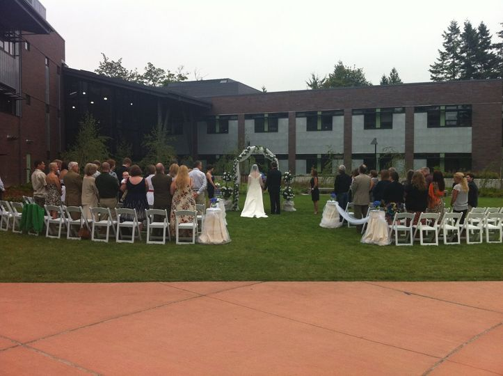 Outdoor courtyard ceremony, outside the Salish Hall.