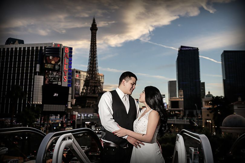 Couple posed on the strip