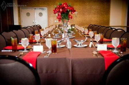 Long table setup with flower centerpiece