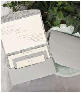 Grey and Ecru Floral Pocket Mailer   An ecru invitation card is wrapped in a grey pocket mailer...