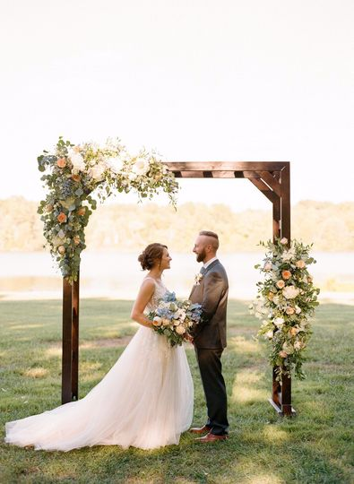 Under the floral arch
