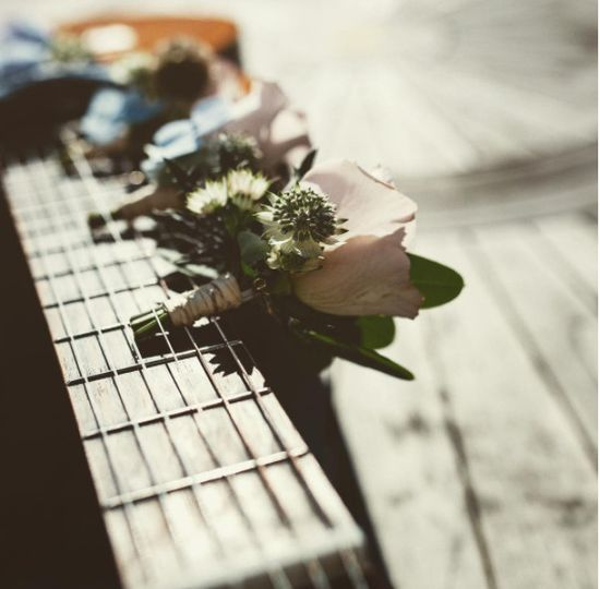 Guitar decorated with flowers