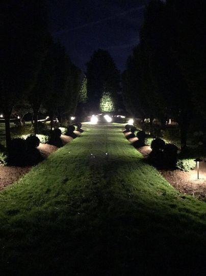 Cornerstone glows at night