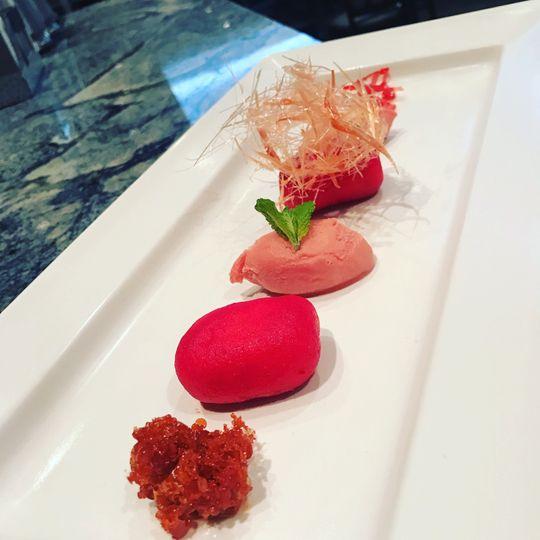 Pink rasmalai and gelato