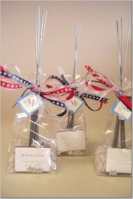 For a Fourth-of-July weekend wedding the couple had custom printed match boxes with the event date...