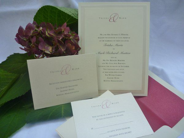 Claret accent color on soft cotton paper and snow shimmery paper accent layers set the tone for this...