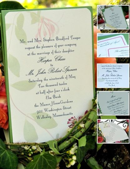 This invitation ensemble played with the 2011 pantone color of the year: Honeysuckle - a bright hot...
