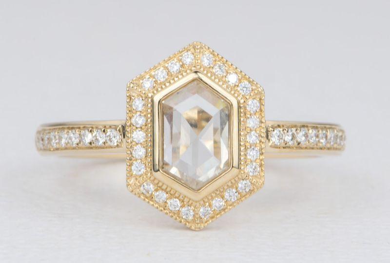 Hexagon clear diamond ring