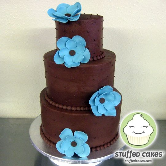 ChocolateBlueFlowersWeddingCakeMain
