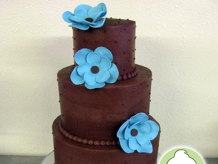 Tmx 1358795812747 ChocolateBlueFlowersWeddingCakeMain Seattle wedding cake