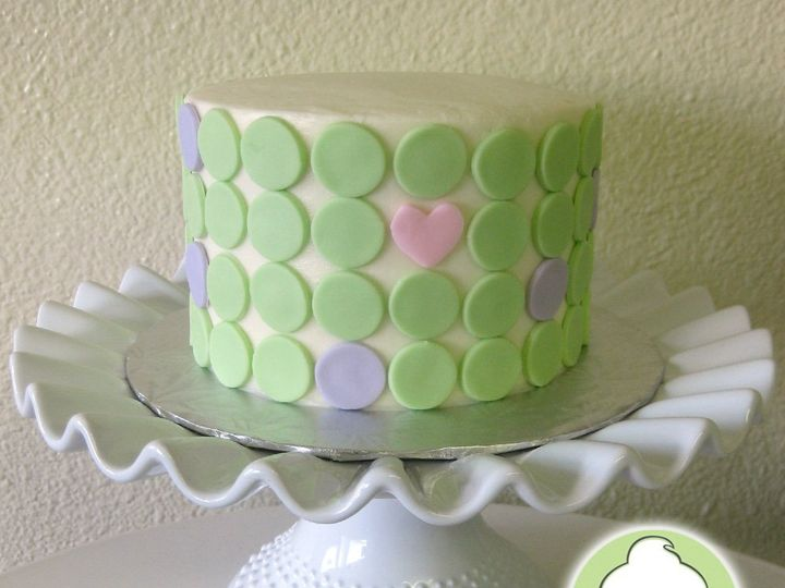 Tmx 1358795823171 GreenLavenderDotsPinkHeartCakeMain Seattle wedding cake
