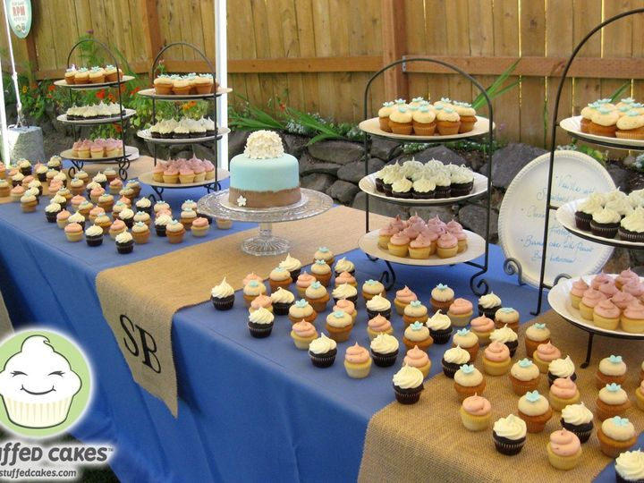 Tmx 1358829778213 BlueBurlapCuttingCakeDisplay Seattle wedding cake