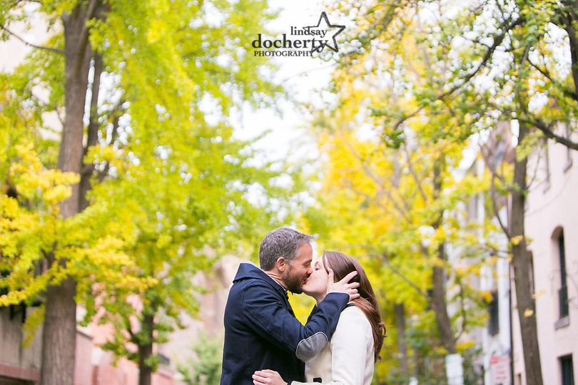 Fall engagement session around Rittenhouse Square in Philadelphia, PA