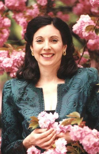 Rabbi Jill in a garden