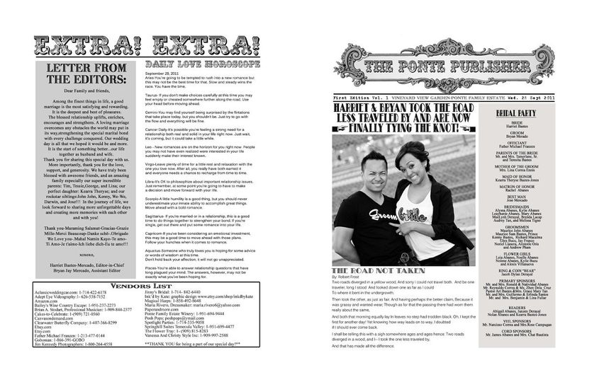Vintage Newspaper style wedding programs. Headline your own special event with this unique design...