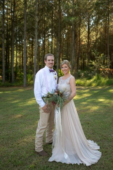 Newlyweds at a forest