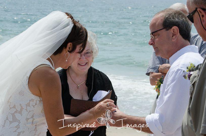 Bride makes a wedding wish