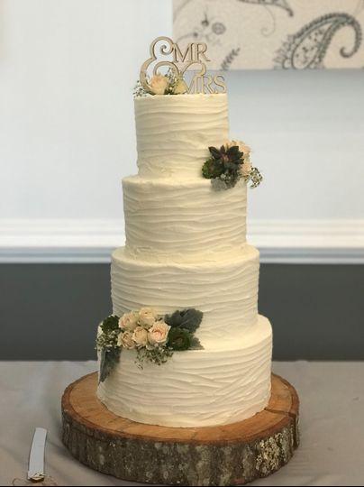 Four-tier rustic cake
