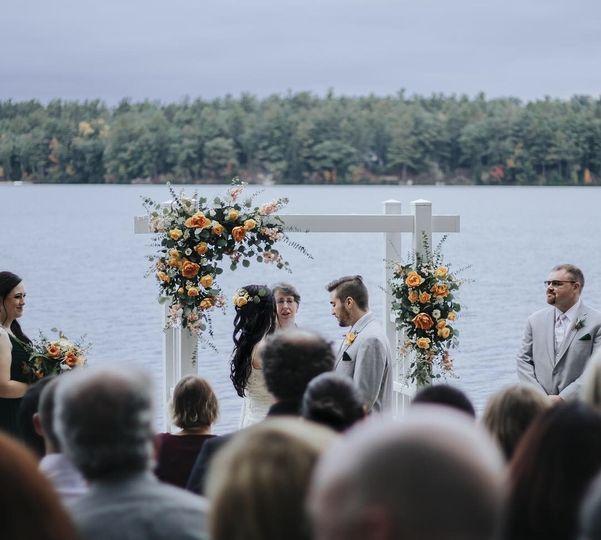 Ceremony arbor flowers