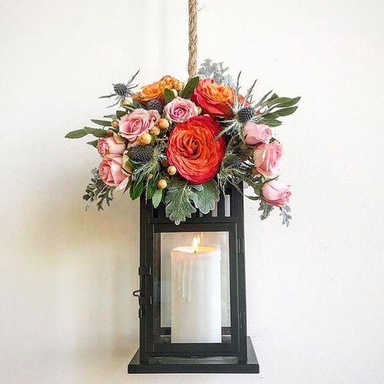 Accent floral decor lanterns