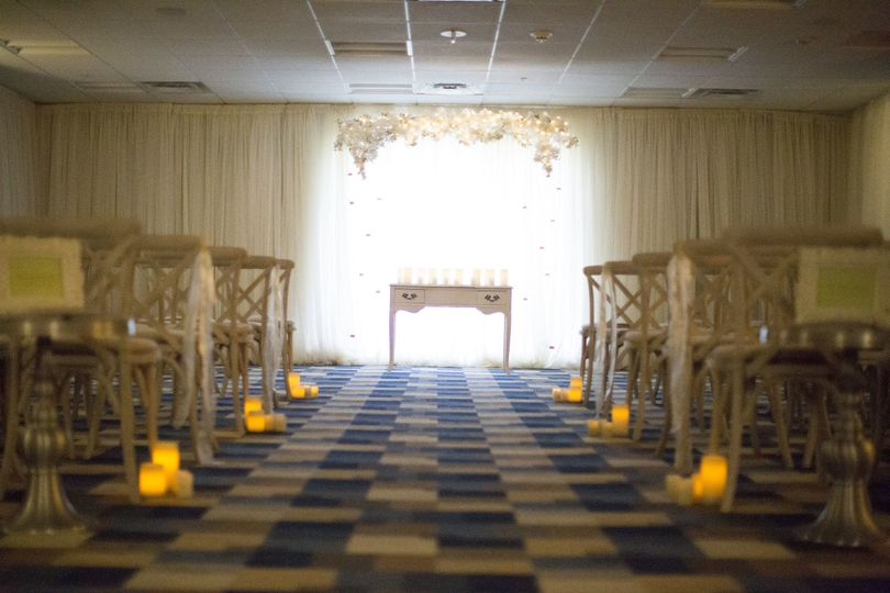 Candlelit wedding aisle