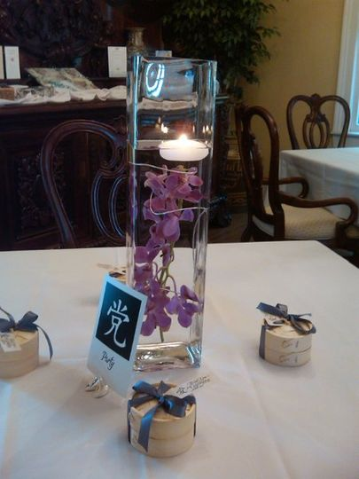 Submerged Purple Orchid Centerpiece