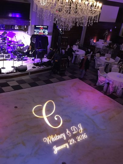 Gobo lighting for the bride and groom.