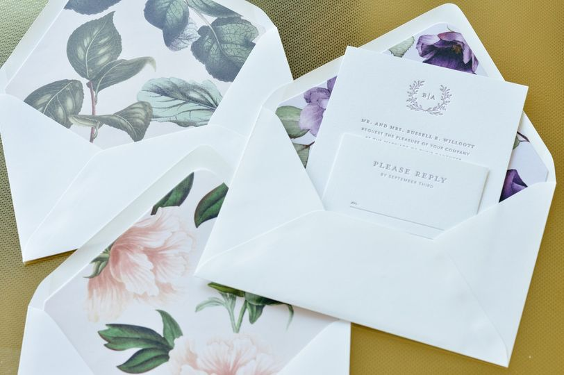 Invitation envelope liners