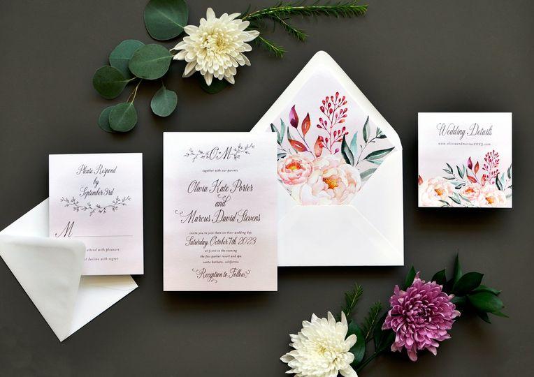 Colorful floral design suite
