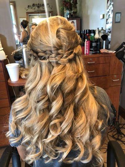 Headband braid w/spiral curls