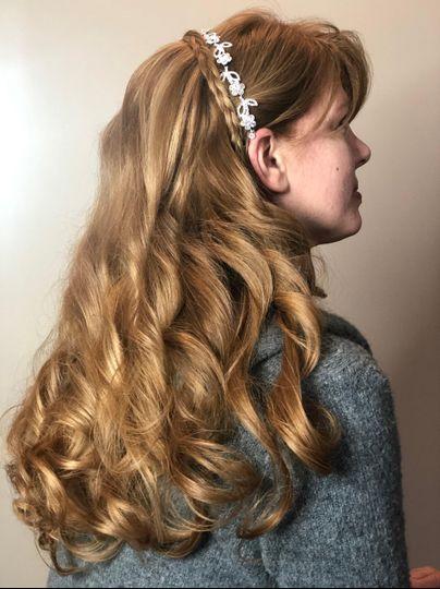 Long curls with headband braid