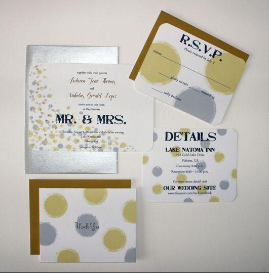 Custom hand drawn invitation suite, with hand placed Swarovski crystals.