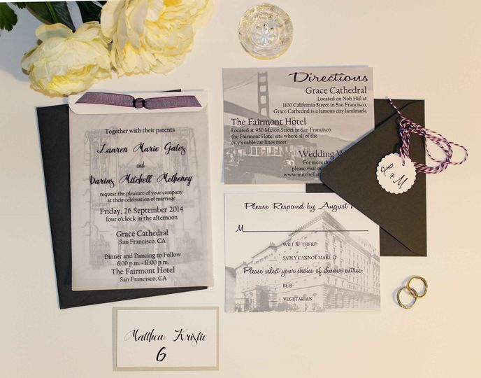Custom hand drawn wedding invitation suite with place card for a modern San Francisco wedding at...