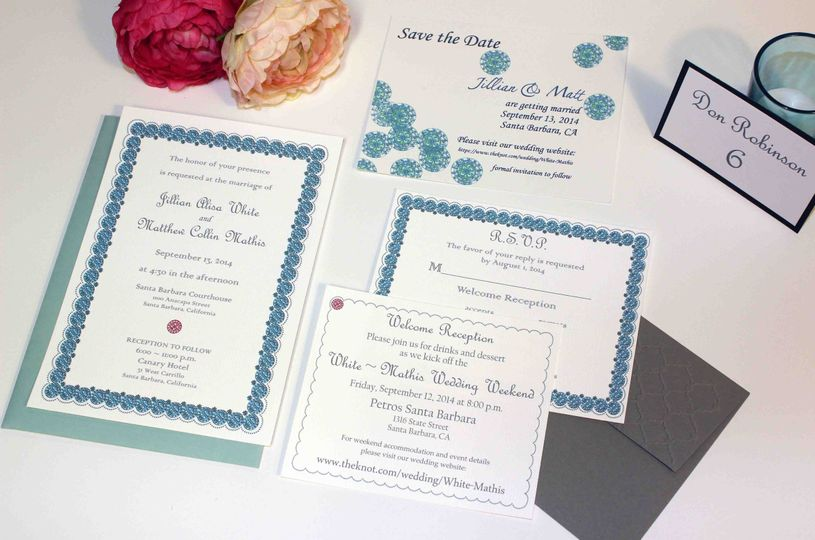Custom hand painted and embossed wedding invitation suite with Save the Date card. Hand embossed...