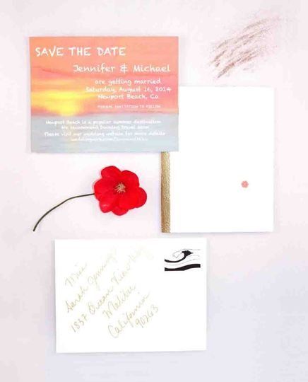 Custom hand painted Save the Date, with custom stamp design for a modern California beach wedding.