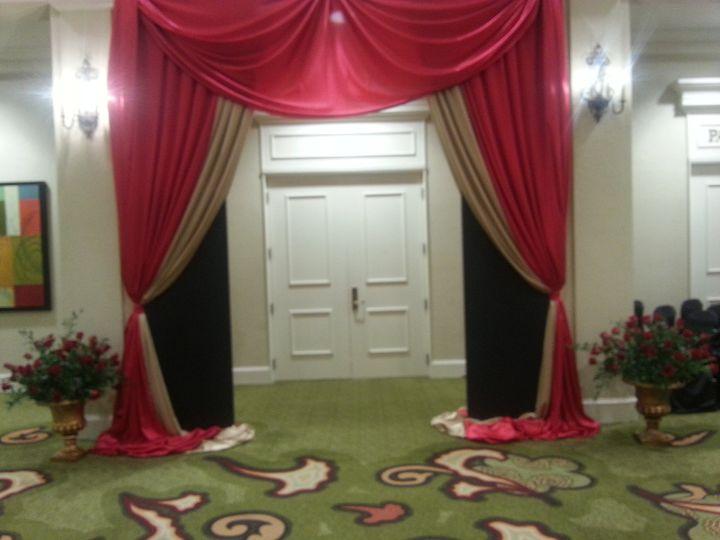 Drapes at the entrance