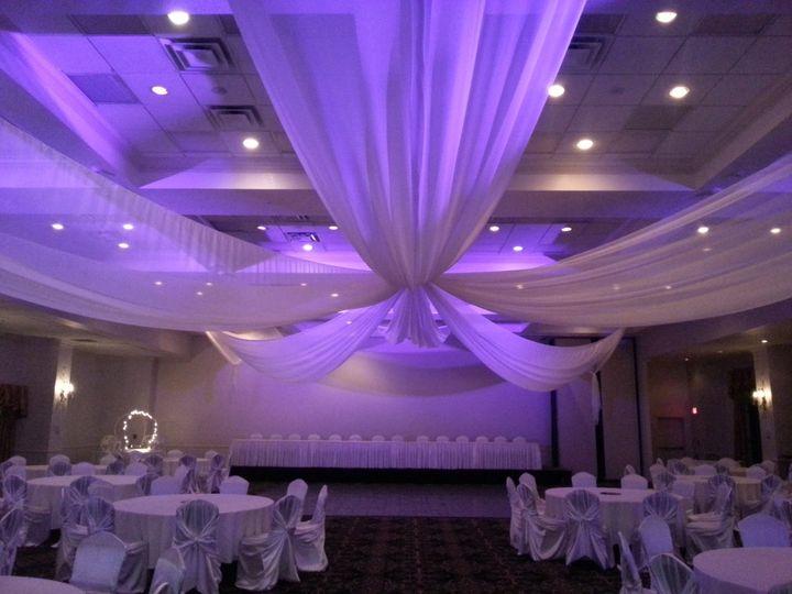 Reception hall drapes and lighting