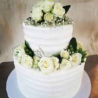 """Almond """"I do!"""" cake with almond buttercream and fresh rose details"""