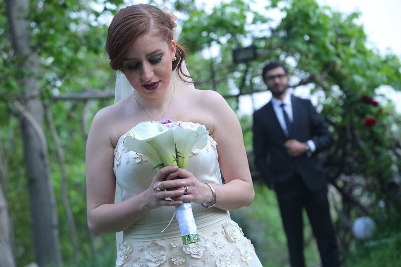 The bride and the special bouquet