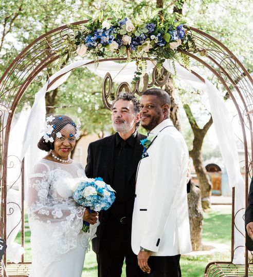 THe outdoor ceremony site with great arch!