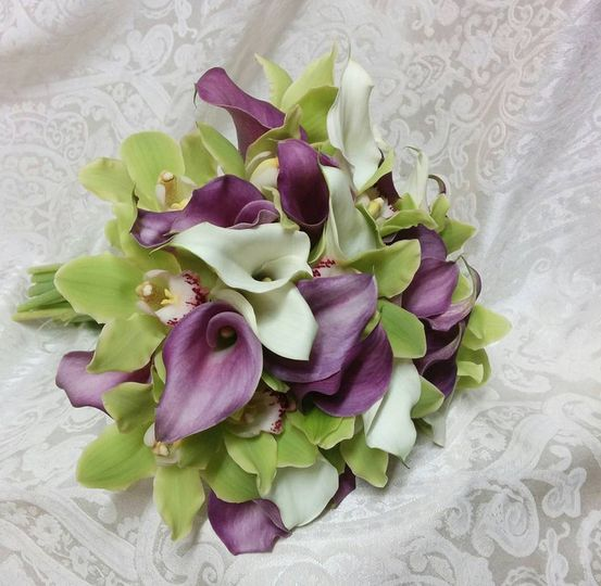 Purple and green themed bouquet