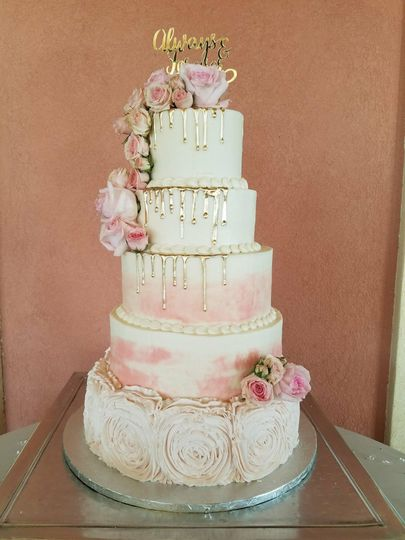 Five layer with pink and gold