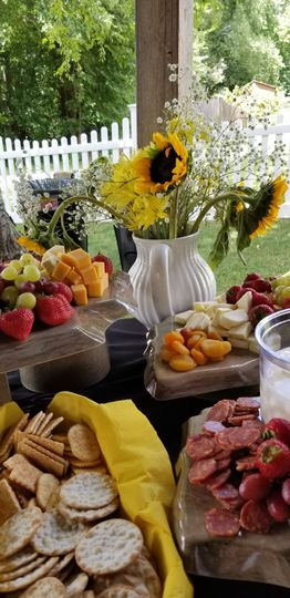 Fruits, cheese, and biscuits