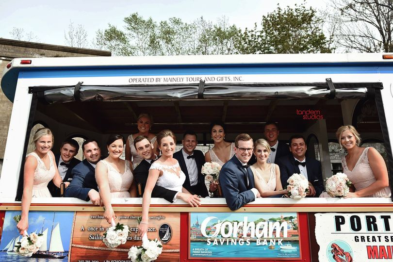 Wedding party on a trolley