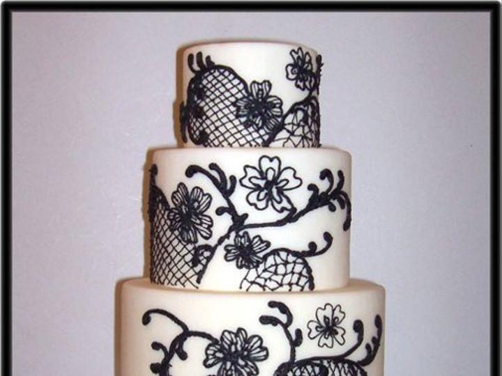 Tmx 1264713842000 Blackandwhitelacewedding Wendell wedding cake