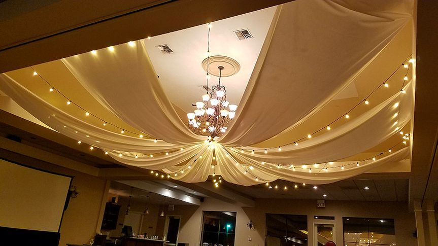 draping and string lights